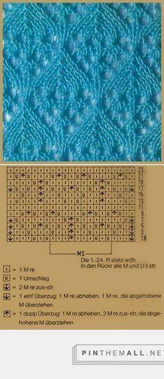 Lace knitting pattern | Lochstrickmuster Beispiel 6, Musterbreite: 10 M + 11 M + 2 Rdm ~ Handarbeitszirkel