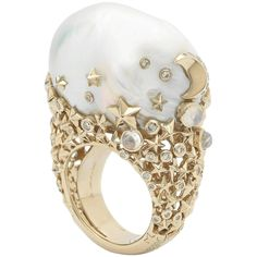 18 Karat Yellow Gold White Diamonds Baroque Pearl Moonstone Cocktail Ring For Sale at 1stdibs