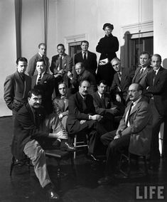 "Group portrait of American Abstract Expressionists, ""The Irascibles."" From left, rear: Willem de Kooning, Adolph Gottleib, Ad Reinhardt, Hedda Sterne;(next row) Richard Pousette-Dart, William Baziotes, Jimmy Ernst (w. bow tie), Jackson Pollock (in striped jacket), James Brooks, Clyfford Still (leaning on knee), Robert Motherwell, Bradley Walker Tomlin; (in foreground) Theodoros Stamos (on bench), Barnett Newman (on stool), Mark Rothko (with glasses), NY, NY, ca. 1950."