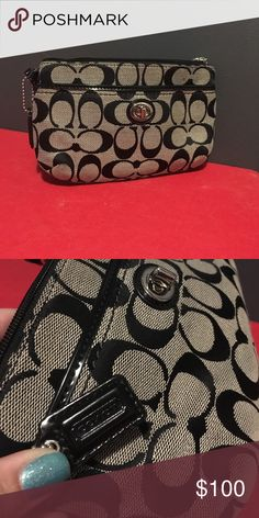 Authentic coach wristlet Brand new never used. The handle is 7 inches and the wristlet is very spacious with a pocket on the inside and a pocket on the outside closed by a buckle. Wristlet is a zipper closure and measures 5 inches tall by 8 inches wide Coach Bags Clutches & Wristlets