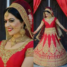Here is Jadee in her red custom made bridal lengha. Outfit was heavily embroidered in gold dubka and zirconia. She looked gorgoues on her big day.  For more information on bridal and non-bridal please email delhicouturecollections@gmail.com  @Regrann from @girlfriendzstudio7 -  Our bride Jadee looked absolutely stunning on her wedding day we loved the simplicity and elegance in her whole look!   Hair makeup photography and styling by master artists Mindy Bansal and Ina Mander  Outfit…