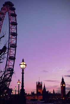 The London Eye, Houses of Parliament and the Clock Tower SILHOUETTED AGAINST A PURPLE SKY oh my **sigh** all the epic London feelings return