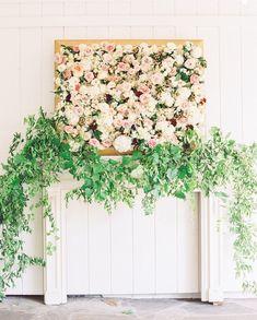flower and greenery wedding backdrop ideas