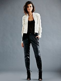 Pleated Leather Slouch Pants