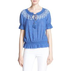 Tory Burch 'Nina' Embroidered Peasant Top ($250) ❤ liked on Polyvore featuring tops, blouses, embroidered peasant blouse, peasant tops, blue peplum top, short sleeve peasant blouse and cotton blouse