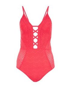 Red Zig Zag Print Lace Swimsuit | New Look
