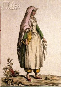 JACQUES GRASSET DE ST.SAUVEUR (1757-1810) (painter) & J. LAROQUE (engraver] Woman of Limnos island in local attire 1784, coloured etching, 21 x 14.5 cm