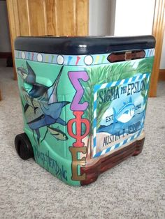 daddy's fraternity, and cute cooler :) Fraternity Coolers, Frat Coolers, Formal Cooler Ideas, Sorority Canvas, Sorority Paddles, Sorority Recruitment, Coolest Cooler, Cooler Painting, Sorority Gifts