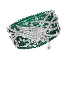 Gilan  The Love Dance Cuff  White gold with Emerald beads and white diamonds