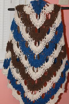 Beautiful Blue, White and Brown Wool Shawl by AngelsWool on Etsy