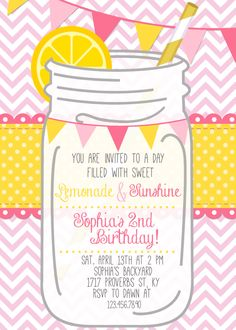 Pink+LEMONADE+Printable+Invitation++Pink+by+CherryBerryDesign,+$10.00