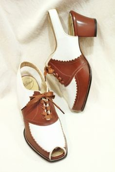 DEAD STOCK 40'S~ MIRACLE TREAD PEEP TOE SLING BACK LACE UP SHOES (WHT/BRN) - PATINAS VINTAGE CLOSET