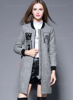 Coats & Jackets - $77.08 - Wool & Wool Blend Polyester Gray Long Long Sleeve Round Neck Coats & Jackets (1715115819)