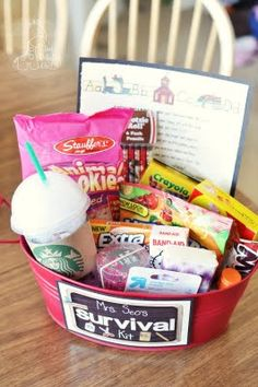 Survival Kit ~ For a teacher, friend, Christmas exchange, neighbor, etc. What a fab idea!