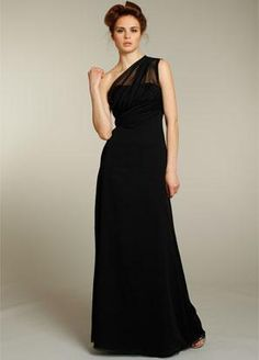 Black Bridesmaid Dresses Long Chiffon One Shoulder. close to the right dress, different color of course