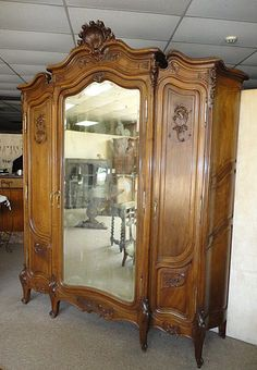 19th Century French Antique Louis XV Style Rococo Armoire