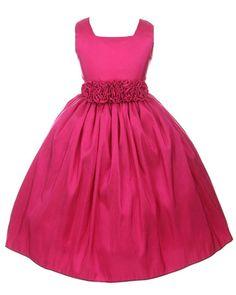 Sweet Kids Girls Sleeveless Flower Girl Dress with Rolled Flower Waistband #SweetKids comes in plum