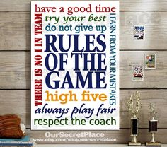 Rules of the Game Inspirational Sports Decor Sports Poster Teen Wall Art Sports Wall Art Sports Rules Decor for Boys Room Sports Quote Diy Bedroom Decor For Teens, Bedroom Themes, Teen Bedroom, Bedroom Designs, Bedroom Wall, Bedroom Ideas, Teen Wall Art, Boy Wall Art, Boy Room