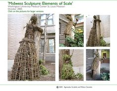Wiktor Szostalo and Agnieszka Gradzik create environmental art pieces that are literally tree huggers. Their willow statues and sculptures are twigs, vines, sticks and branches woven together and entwined to create wicker people that wrap their arms around tree trunks. Great for the garden.   Environmental art....tree hugger art; garden sculpture, statue of woman made of willow vines