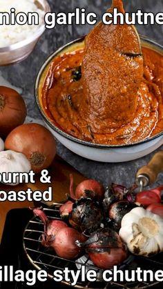 Garlic Chutney, Ginger Chutney, Indian Chutney Recipes, Indian Veg Recipes, Vegan Recipes Easy, Snack Recipes, Cooking Recipes, Roasted Garlic, Paneer Dishes