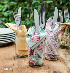 Trendy Ideas For Diy Outdoor Party Table Mason Jars Place Settings, Table Settings, Outdoor Food, Party Outdoor, Cloth Napkins, Cloth Napkin Folding, Folding Napkins, Deco Table, Decoration Table