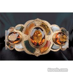 Dazzled by the stones in this agate and citrine. dangle more information about Victorian Scottish agate