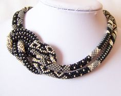 Long Beaded Crochet Rope Necklace - Beadwork - Seed beads jewelry - Elegant - Geometric  - Patchwork - Grey - Black - Light Beige