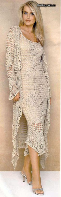 Irish crochet dress and jacket Col Crochet, Crochet Woman, Irish Crochet, Crochet Fashion, Beautiful Crochet, Crochet Clothes, Crochet Dresses, Knit Dress, Dress Lace