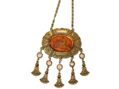 Amber Glass Goldette Cameo Necklace With Angel and Goddess #Goldette