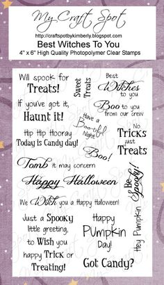 122 best cards halloween sayings images on pinterest in 2018 halloween sentiments this site sells all sorts of clear stamps for the holidays must visit her closer to christmas m4hsunfo