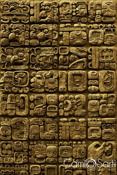 Details of maya glyphs on a stelae from the archaeological site of Mixco Viejo in Guatemala.