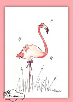 Illustration Flamant Rose
