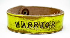 Hot yellow WARRIOR Petite Cuff by LeatherCoutureLV on Etsy, $40.00