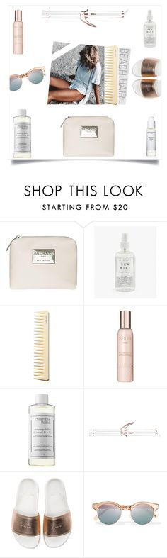 """""""Untitled #261"""" by kittiena ❤ liked on Polyvore featuring beauty, Balmain, Herbivore, Sachajuan, Show Beauty, Christophe Robin, T3, BUSCEMI, Le Specs and beachhair"""