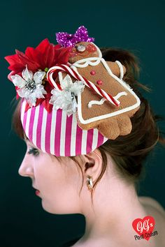 Kitsch Kawaii Vintage Candy Cane Christmas Hat by ggspinupcouture...