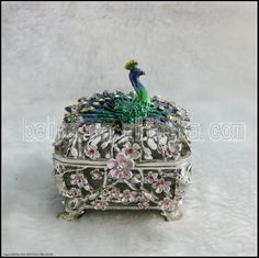 Silver With Peacock Square Trinket Box
