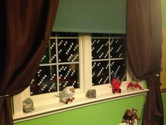 """Minecraft"" window panes with white electrical tape Minecraft Bedroom, Window Panes, Electrical Tape, Valance Curtains, Windows, Boys, Awesome, Home Decor, Blinds"
