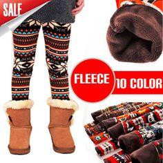 3pcs/lot 2013 winter girls warm fleece pants chilren cartoon deer rabbite snow leggings kids bootcut 10 color chooes $21.80