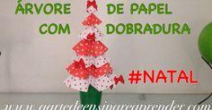 Assista o vídeo e confira o passo a passo para confeccionar uma linda árvore de natal de papel com dobradura para decoração nata...