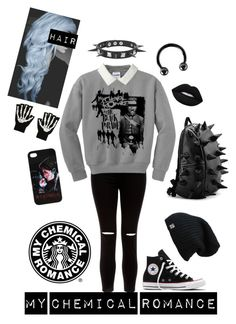"""""""Kill All Your Friends - My Chemical Romance"""" by chemicalfallout249 ❤ liked on Polyvore featuring Lime Crime, New Look, Converse and Urbiana"""