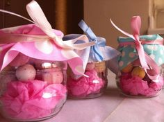 "Easter favours. Fill little glass yoghurt pots or baby food jars with some coloured craft paper and mini eggs and seal with a piece of left over fabric and a pretty ribbon. Same concept can be used for kiddies ""party bags"" - Just fill a jar with goodies. Take into account this wouldn´t be suitable for younger kids!"