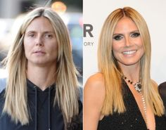 Before and After Makeup Celebs: Good, Bad, and the Ugly! - Uhm, Me now thinks Heidi Klum is a man. 5 kids or not that is a man.