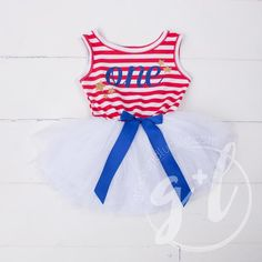 """""""Patriotic"""" Birthday Dress with her Age, Red, White & Blue Blue Script Sleeveless - Grace and Lucille 4th Of July Dresses, Patriotic Dresses, 4th Of July Outfits, Fourth Of July, Blue Dresses, Dress Red, July Birthday, 1st Birthday Outfits, Girl First Birthday"""
