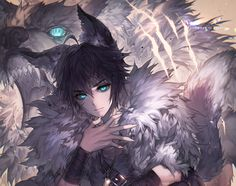 all_male animal animal_ears black_hair blue_eyes cookie_run kawacy male short_hair signed tail wolf wristwear