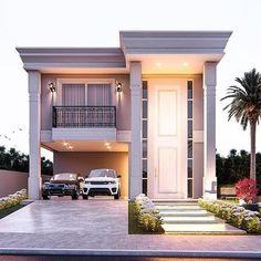 Duplex House Design, House Front Design, Cool House Designs, Village House Design, Village Houses, Modern Bungalow House, Modern House Plans, Large Homes Exterior, Small Villa