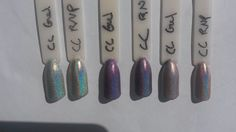 Color Club Gel halo comparison to regular nail polish in direct sunlight: Left to Right; Harp On It - Eternal Beauty -  Cloud Nine .  There is a clear linear halo on the first two gels, but Cloud Nine is disappointing with the halo barely visible. In all cases the regular nail polish has a stronger halo.
