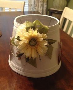 handmade lampshade with floral and burlap by CajunSassCreations