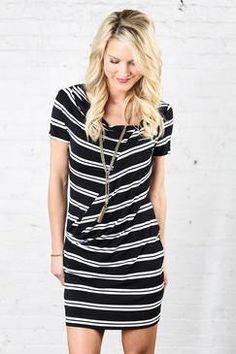 Stripe Short Sleeve Dress by PAPILLON - EVEREVE