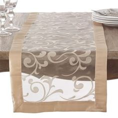 Flocked flourishes detail a sheer runner from Saro Lifestyle the perfect decorative touch to any special event table. Wedding Table Linens, Burlap Table Runners, Table Runner Pattern, Fabric Houses, Fall Table, Handmade Home Decor, Table Covers, Table Decorations, Furniture