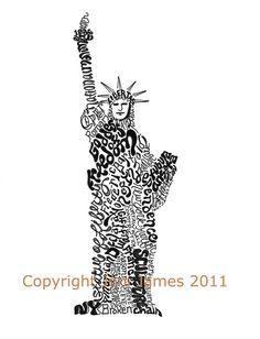 New York Statue of Liberty word art typography calligram by Joni James